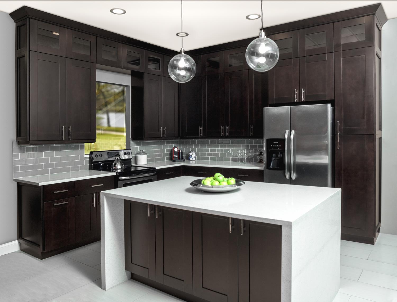 Dark Chocolate Shaker Kitchen Cabinets Rta Cabinet Store