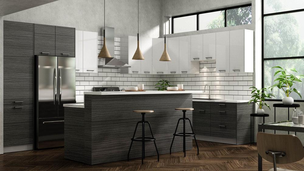 Dark Timber Kitchen Cabinets