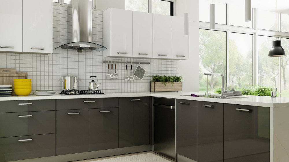 Gloss Grey Kitchen Cabinets