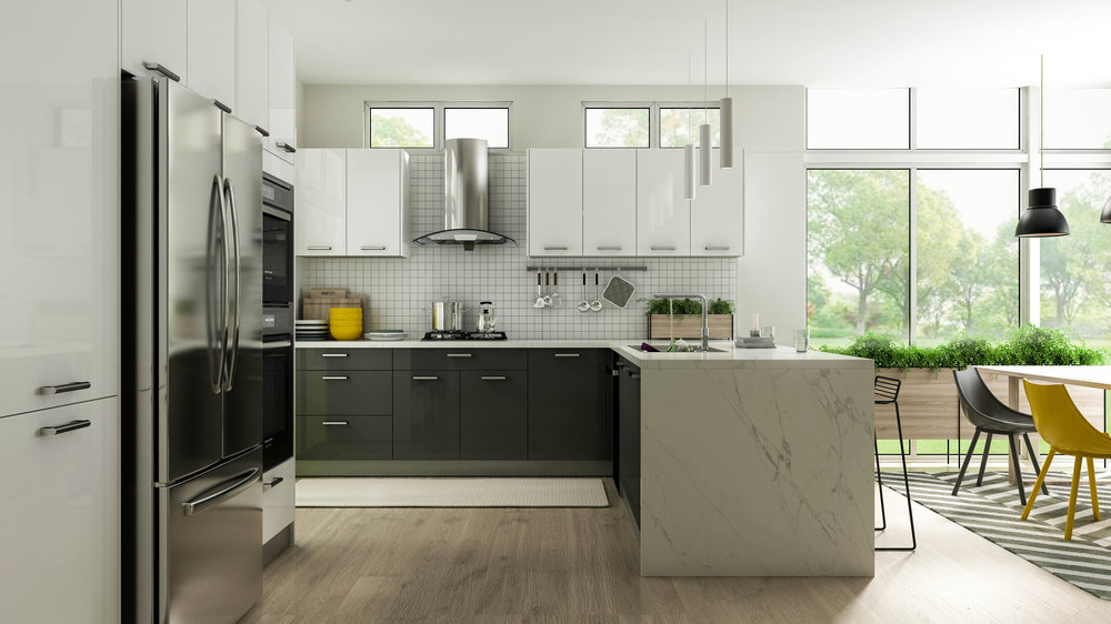 Gloss White Frameless Kitchen Cabinets