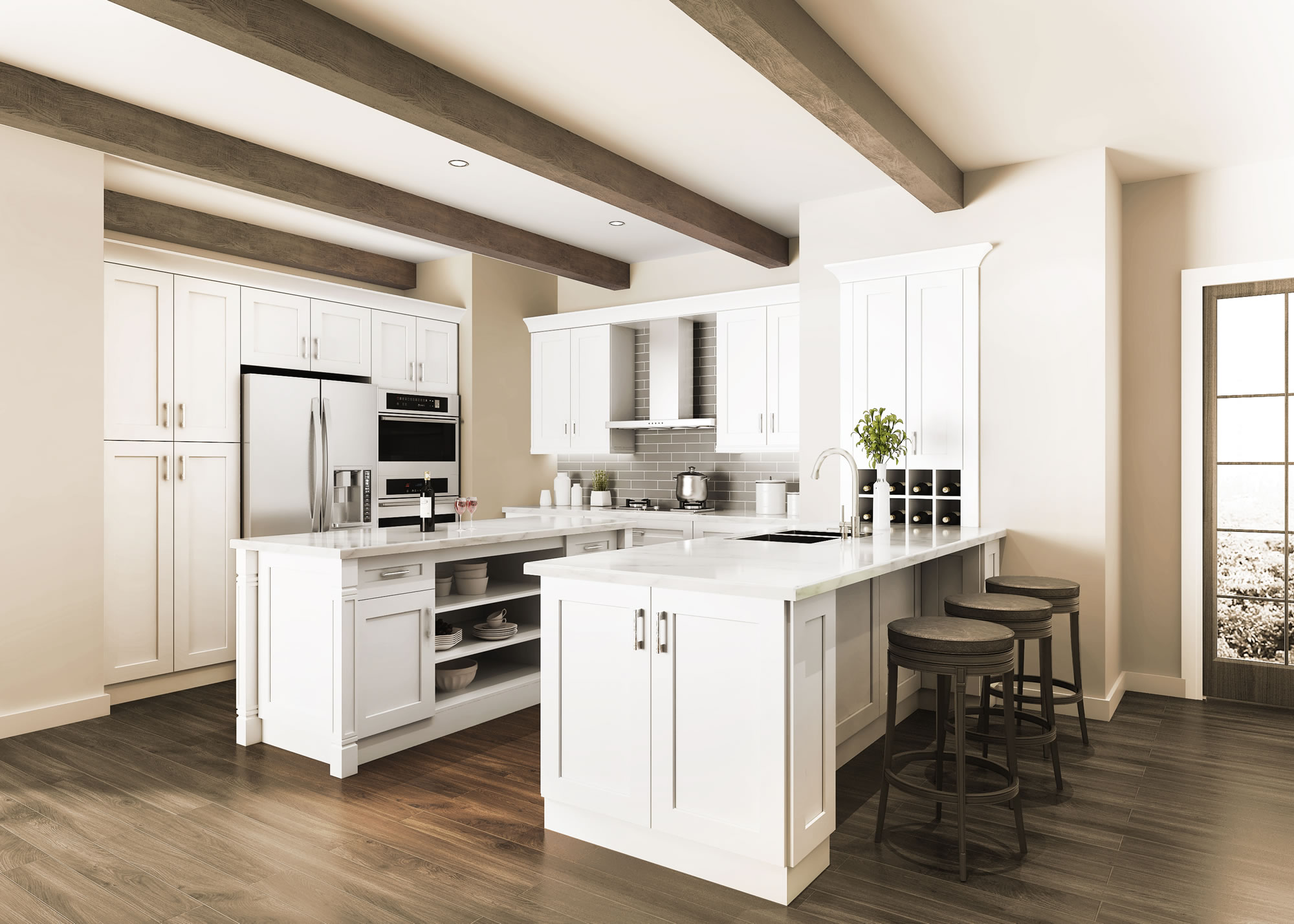 Ivory White Shaker Kitchen Cabinets