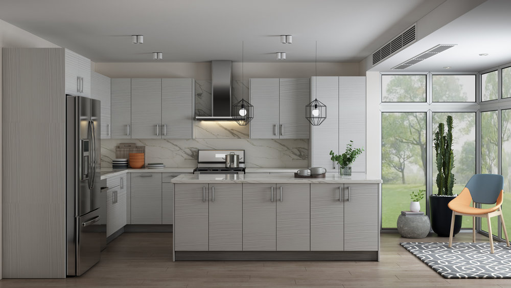 Pale Pine Frameless Kitchen Cabinets